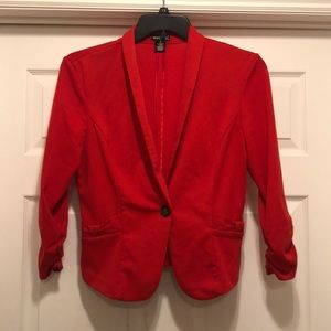 Red blazer with bow details